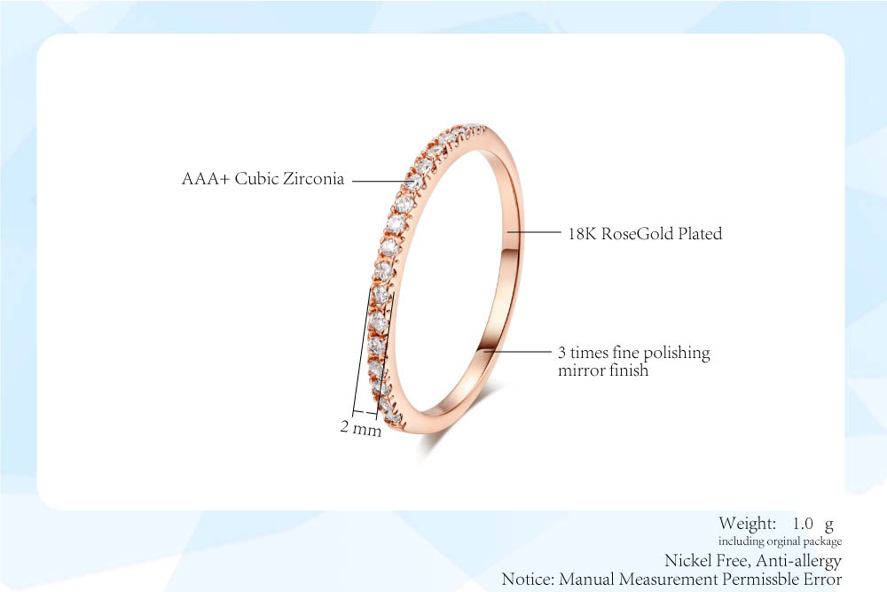 Wedding Ring For Women Man Concise Classical Multicolor Mini Cubic Zirconia Rose Gold Color Fashion Jewelry R132 R133 ZHOUYANG 2