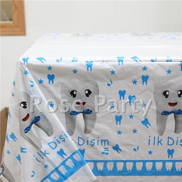 108180cm Baby Shower Decoration Plastic Table Cloth 1st Teeth Theme