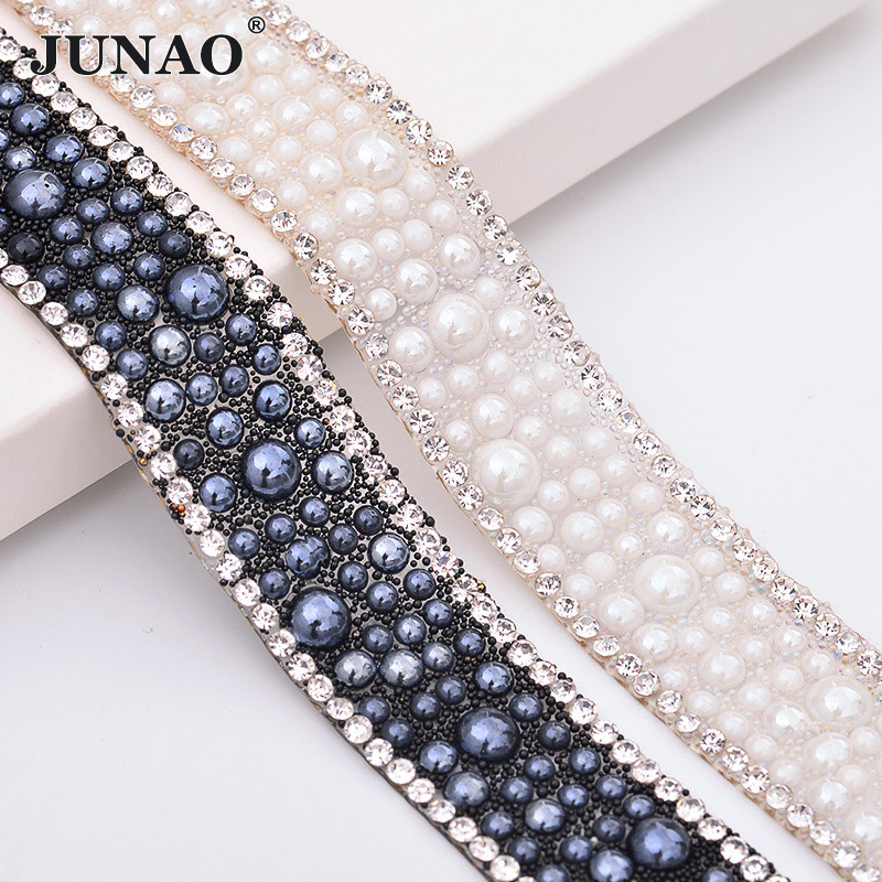 JUNAO 5 Cour * 18mm Blanc Black Pearl Baguage Strass Ruban Garniture Correctif Strass Verre Cristal Perles Tissu Pour DIY De Mariée Ceinture
