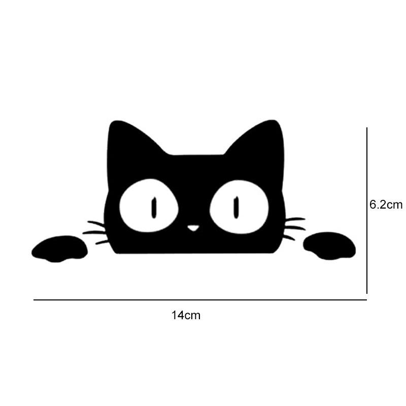 14CM6.2CM Car Stickers Surprise Cat Peeking Car Sticker Vinyl Decal Car Styling Animal Wall Window Door Laptop Decor Stickers (3)