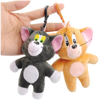 2Pcs Cat Tom & Jerry Mouse Plush Toy Dolls Cute Stuffed Animals Kids toys small pendant keychains Collection Soft Toys Gift