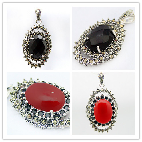 Vintage 925 sterling silver faceted 2 colors blackred stone vintage 925 sterling silver faceted 2 colors blackred stone marcasite pendant 30x20mm in pendants from jewelry accessories on aliexpress alibaba aloadofball Images