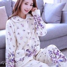 Ladies Winter Pajamas Long Sleeves Female Thickened Flannel Sleepwear Loose Coral Coral Homewear Women s Warm
