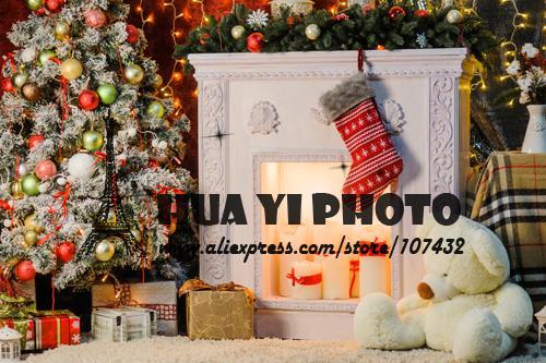 150*220CM  Art fabric Newborn Photography Backdrop Christmas Tree Fireplace Custom Photo Prop backgrounds  D-9325
