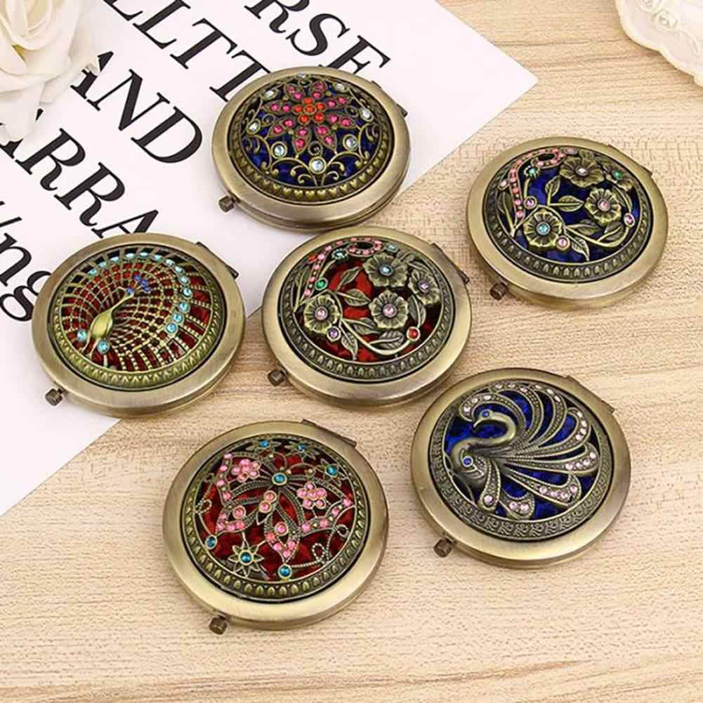 1 Pc Makeup Mirror Vintage Hollow Flower Mini Folding Pocket Round Double-sided Portable Makeup Mirror Gift