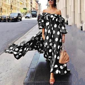 Women Fashion Bohemian Style Polka Dot Printed Dress Cold Shoulder Lace Half-Sleeve Length Ruffle Bow Dress Casual Beach Dress