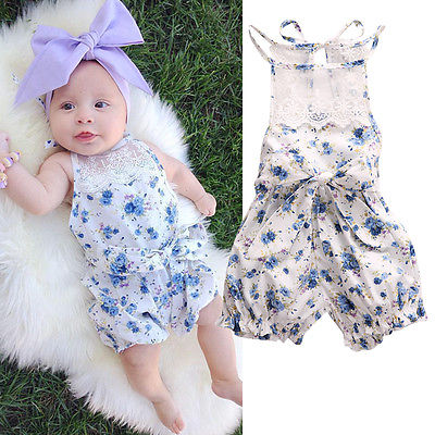d9971b9fa4f8 2016 New Cute Baby Girls Clothes 0 18M Infant Kids Summer Sleeveless Lace  Romper Newborn Girl Floral Baby Rompers-in Rompers from Mother   Kids on ...
