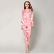 VVUES 2019 2 Pieces Pajamas Sets Sleepwear Button Women Faux Silk Smooth Soft Sexy Long Sleve Pants Kit M-XXL