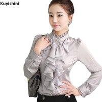 Plus Size 2XL XL 3XL Ruffled Women S Blouse OL Elegant Lace Collar Ruffles Shirts Stand