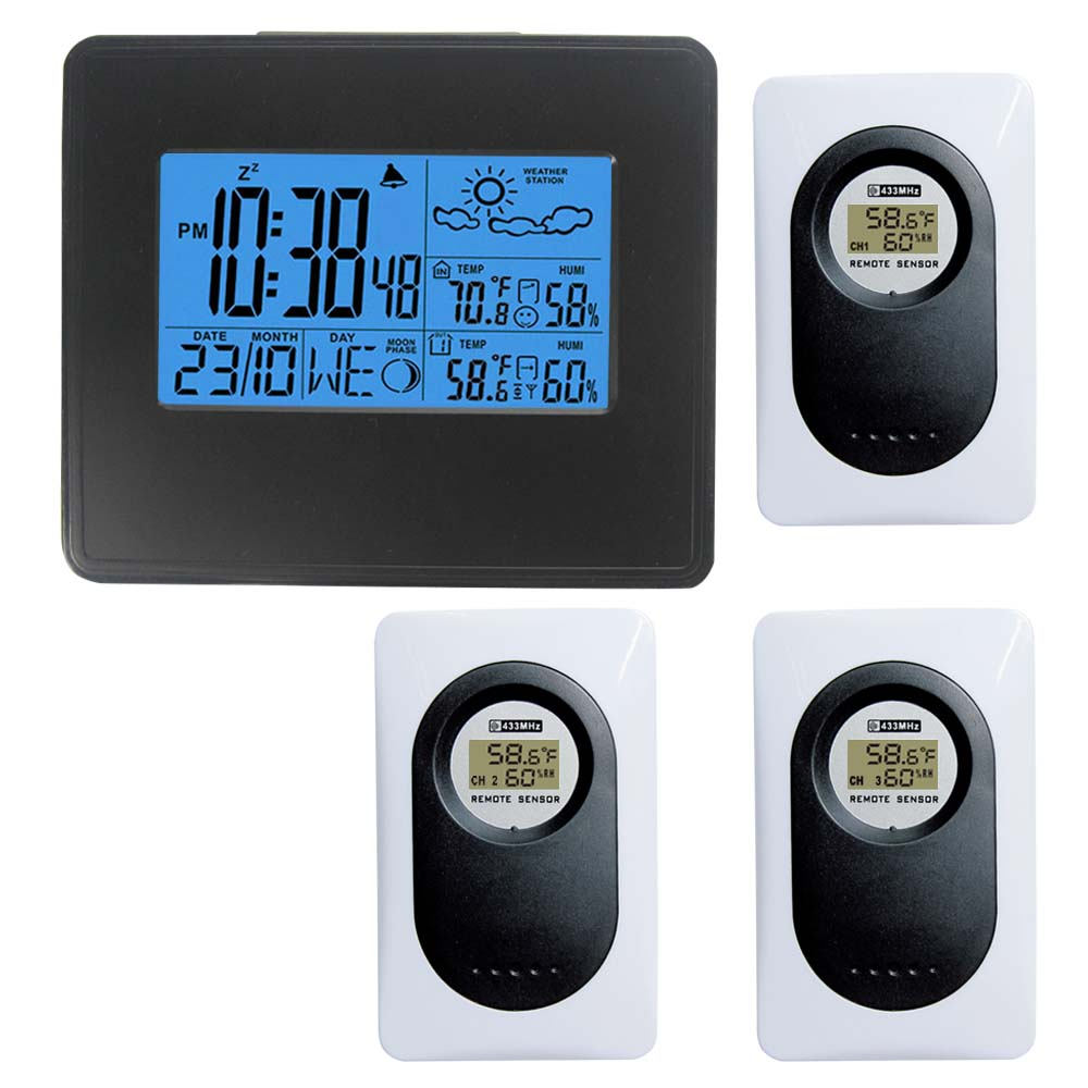 DCF Redio Controlled Weather Station Weather Forecast Backlight Weather Clock Indoor Outdoor Temperature Humidity Monitor weather report weather report heavy weather 180 gr