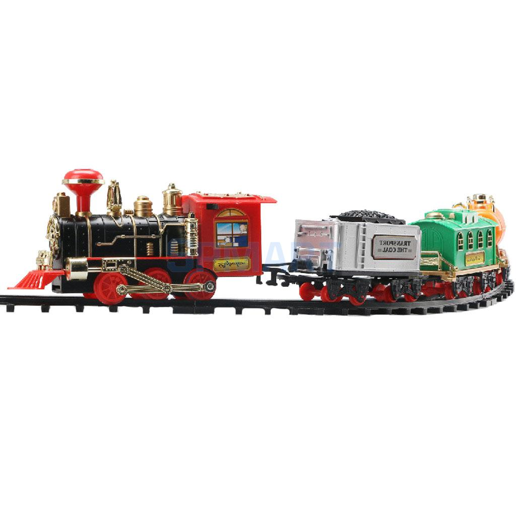 Lifelike Classic Electric Track Train with Sound and Smoke Vehicles Model Children Toy Gift