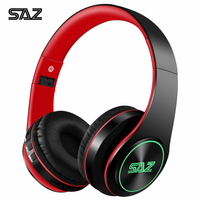 SAZ 414 Bluetooth headphone sport luminous Cool Wireless Headset with microphone for phones and music pink