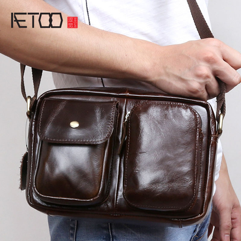 AETOO Leather men bag shoulder bag head layer of leather shoulder bag men Messenger bag casual tide package цена