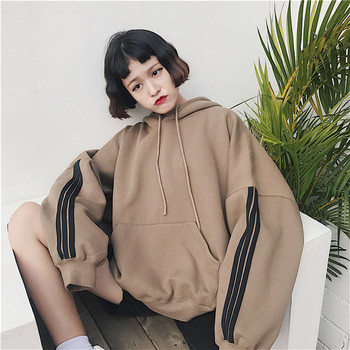 Women Hoodies Sweatshirts 2019 Winter Pullover Thick Loose Female Student Tracksuits Harajuku Splice Retro BF Style Hip Tops