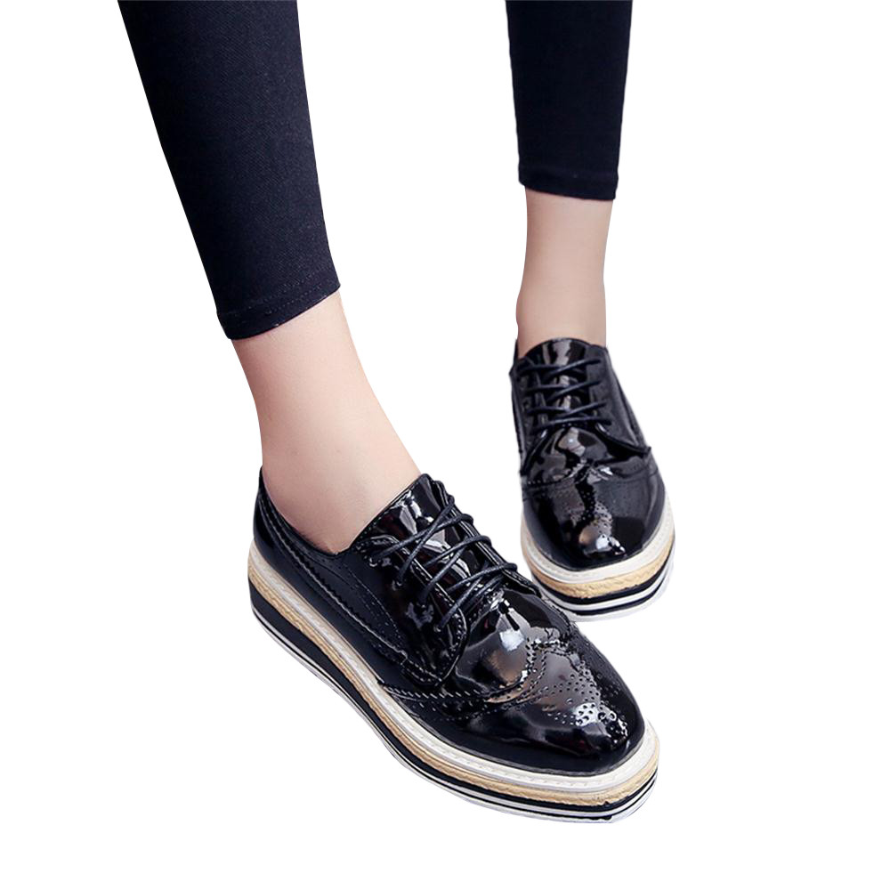 Women Outdoor Leather Casual Sports Shoes Lace-Up Thick-Soled Increase Shoes italian shoe and bag set for party in women blue #8 15