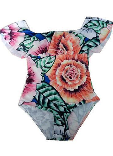 Bandeau Swimsuit Lace Flounces Sexy One Piece Swimsuit Thong One Piece Swimwear Cropped Bodysuit Corset One