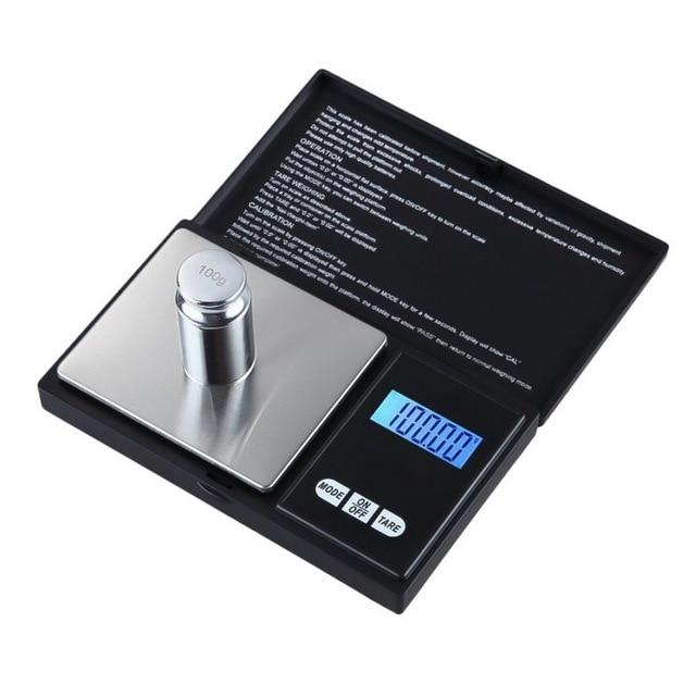 Urijk 1Pcs Precise Digital Scale 100/200/300/500/1000g 0.01/0.1g LCD Display Pocket Gram Weight