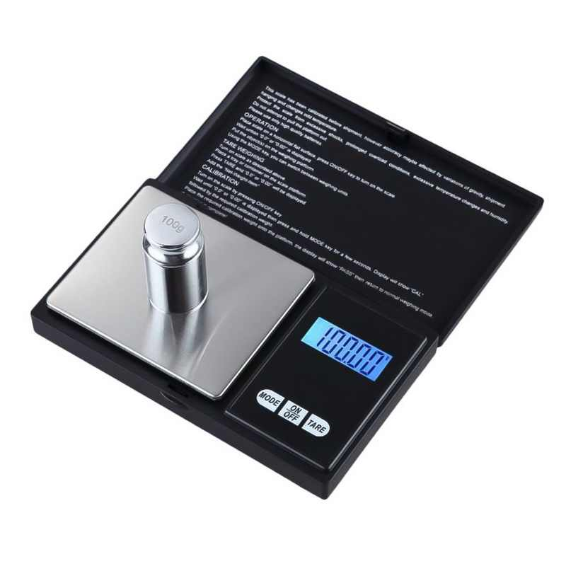 Urijk 1Pcs Digital Scale 100/200/300/500/1000g 0.01/0.1g Precise LCD Display Pocket Scale Gram Weight for Kitchen Jewelry Drug