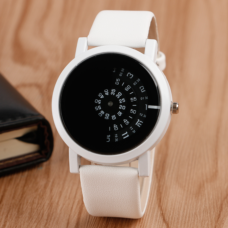 Fashion Unique Turntable White Leather Band Strap Wristwatch Creative Dial Outdoor Sport Quartz Watch For Unisex hot sale creative black dial two red point men wristwatch unique turntable leather band strap women s quartz watch