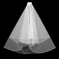 2 layer Short paragraph handmade beaded veil the bride married hair double sewn beads wedding accessories wholesale