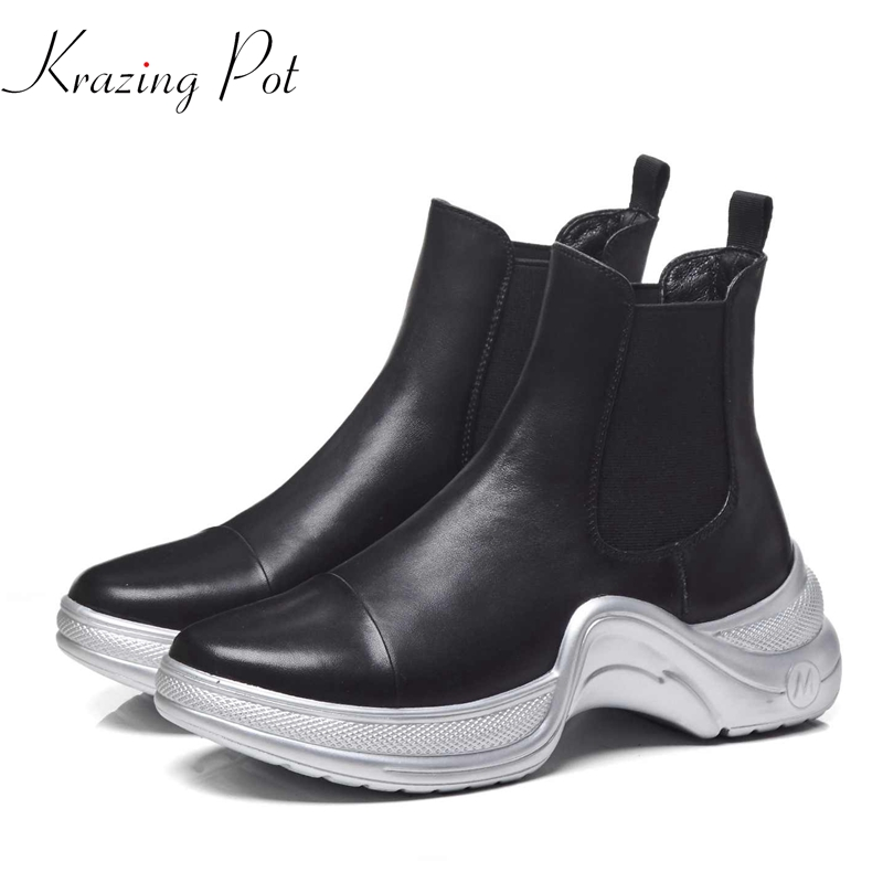 Krazing Pot 2019 full grain leather brand boots style western design slip on solid color superstar keep warm ankle boots L1f2-in Ankle Boots from Shoes    1