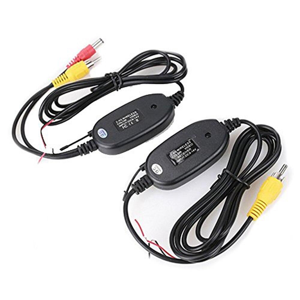 Podofo 2.4 GHz Wireless cámara de visión trasera RCA transmisor de vídeo y kit de receptor para coche retrovisor Monitores transmisor FM y receptor
