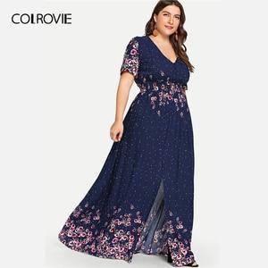 Image 3 - COLROVIE Vestido playero largo bohemio de talla grande, vestidos con estampado de flores de color azul marino, Vestido informal de talle alto para mujer de verano 2019