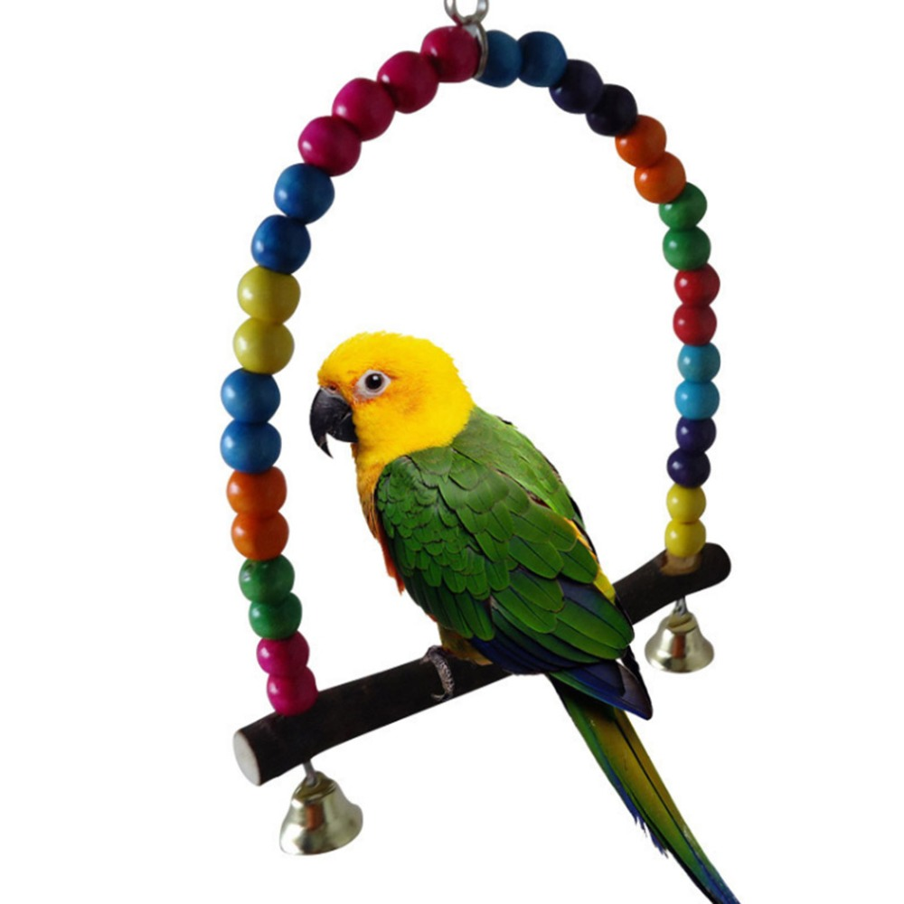 Wooden Parrot Swing Toy Bird Cage Accessories Bird Stand Rack Hanging Perch For Bird Parrot Swing Toy With Colorful Beads Bells