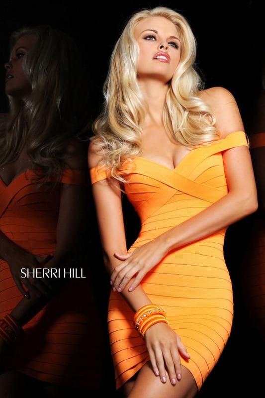 2014 New Arrival Ladies HL Bandage Dress Orange Colour Sexy Mini Club Night Dress High Quality Wholesale