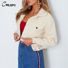 CWLSP Winter Short Lambswool Coat Buttons Solid Turn-down Collar Vintage Jacket Woman Fur Streetwear jaqueta feminina QL4166