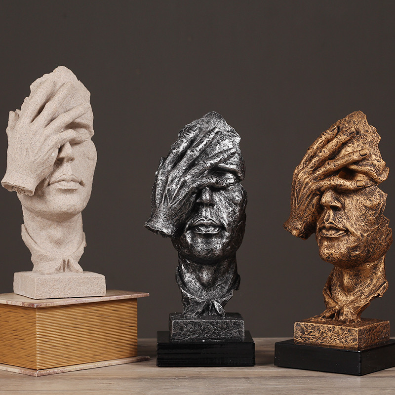 "Resin Statues Figurine ""Blind Thinker Silence is Golden"" people Sculptures Vintage Home Decor Crafts"