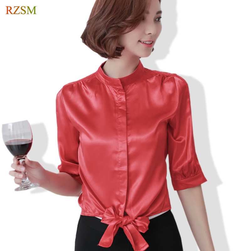 2018 Autumn Women New Mulberry Silk Blouse Lace Half Sleeve Pure Color Bow Shirts Free Shipping Ladies OL Tops Office Clothes