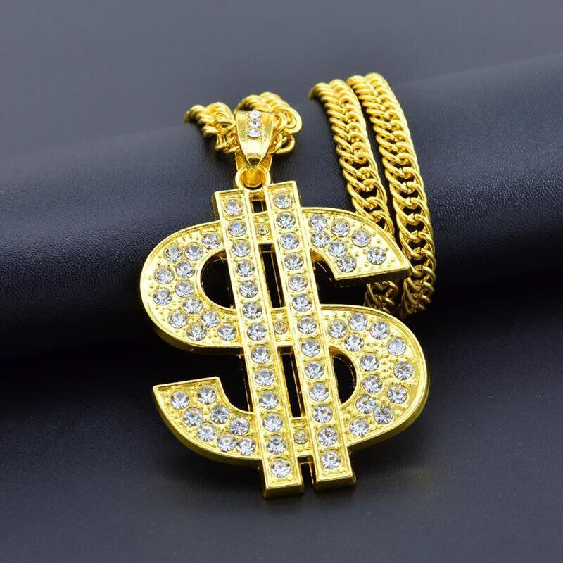 Мужские ожерелья с кулоном в стиле хип-хоп, Золотая Длинная цепочка, крупное ожерелье в стиле стимпанк, стразы, подарочное ожерелье
