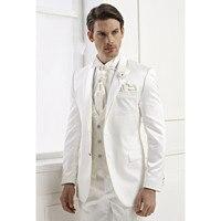 Heißer Verkauf Nach Maß Bräutigam Smoking Weiß Beste Klage mann Kerbe Revers Groomsman Wedding Männer Anzüge Bräutigam (Jacke + hosen + Weste)