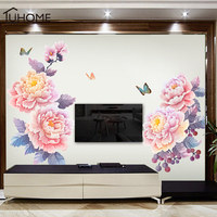1 Set Large 125x155cm Romantic Rose Wall Stickers Home Living Room TV Background Decals Bedroom Flower Shop Pvc Mural Art Poster