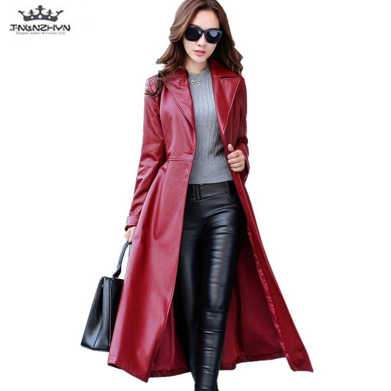 2019 Spring Autumn Women   Leather   Jacket Fashion High-end PU   Leather   Coats X-long Belted Slim PU   Leather   Trench Coats SK113