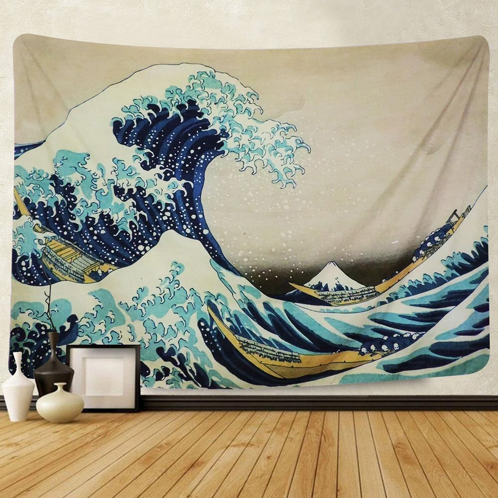 Wall Hanging Tapestry Kanagawa Ocean Wave Mount View Blanket Art Home Decor