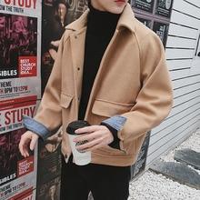 купить HOT Men's Woolen Short Jacket Retro Casual Coat Single Breasted Loose Outwear Black Khaki Yifsion по цене 3401.8 рублей