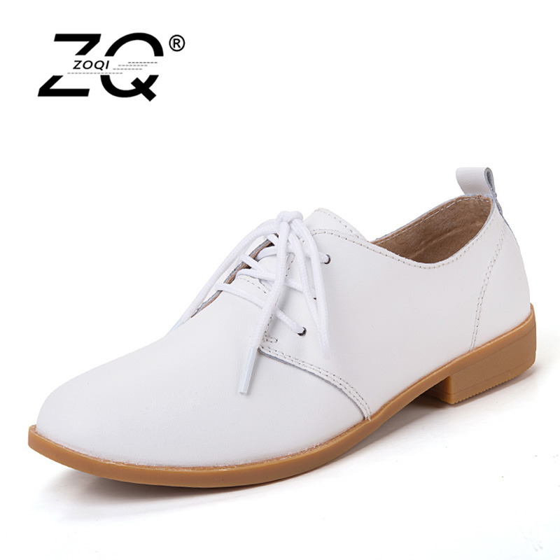 2017 British Style Oxfords Shoes For Women Flats Lace-Up Genuine Leather Round Toe Casual Ladies Shoes 6 Color 2018 british style women oxfords new spring genuine leather women s shoes autumn lace up flats round toe casual ladies shoes 43