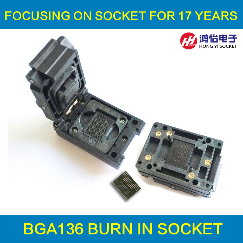 BGA132/BGA152/BGA88/BGA136 Test Socket Adapter IC Test Socket Burn in Socket Pitch 1.0mm Flash Testing Programming Socket ic qfp32 programming block sa636 block burning test socket adapter convert