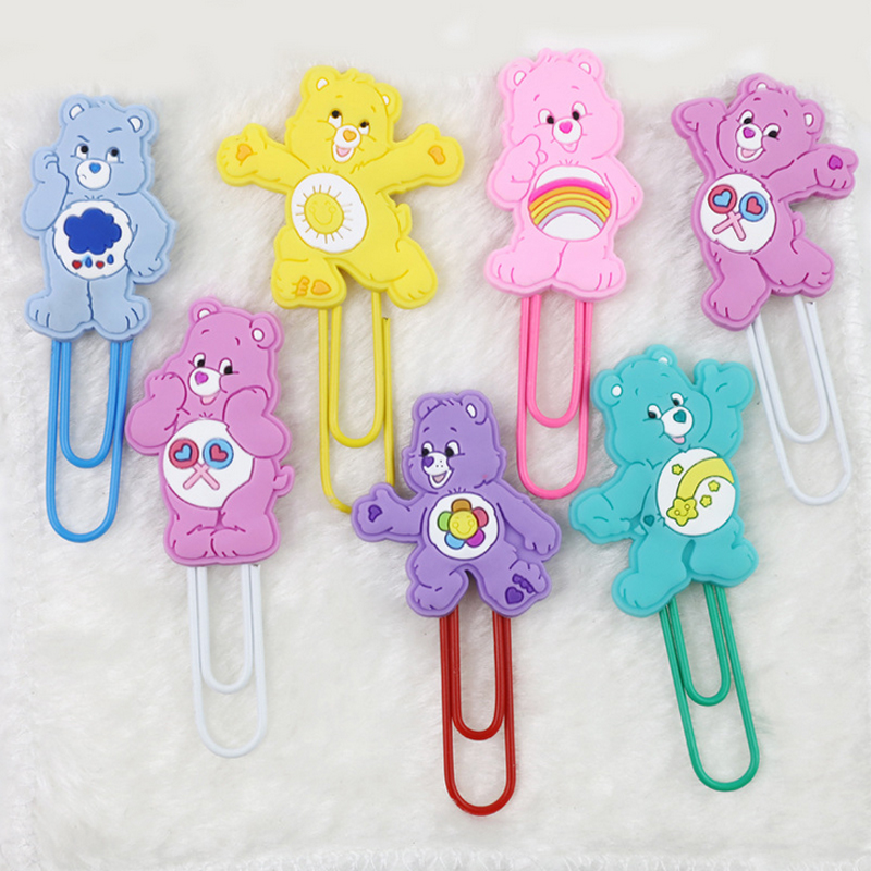 1x Rainbow Bear Cartoon Paper Clip Silicone Material Escolar Bookmarks For Books Stationery School Supplies Papelaria Child Gift