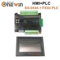 samkoon EA 043A HMI touch screen 4.3 inch 480*272 and FX3U series PLC industrial control board with DB9 Communication line