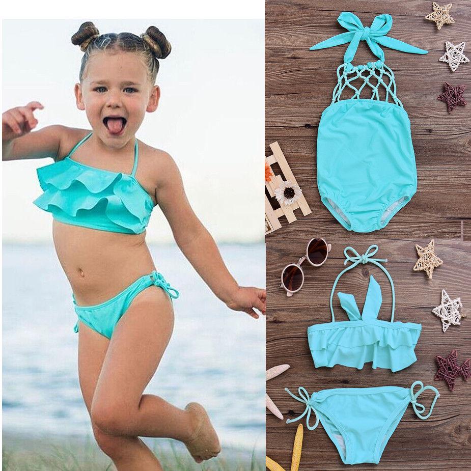 Baby Girls Toddler Kid Halter Swimwear Swimsuit Bikini Set Bathing Tankini