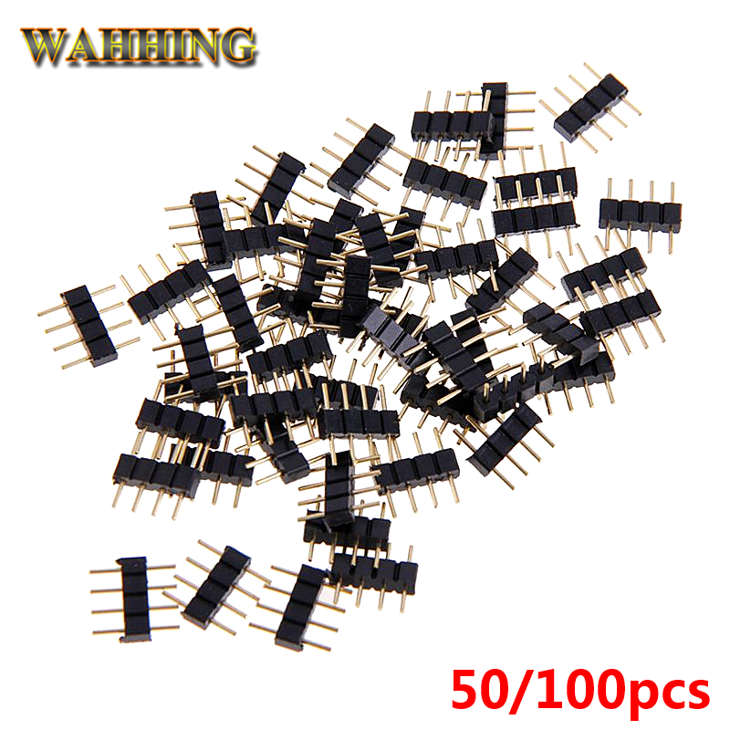 50/100x 4Pin Single Row Pin Header Straight Connector 5050 RGB 4 Pin 2.54mm Pitch Header Socket Strip For LED Strip HY1249