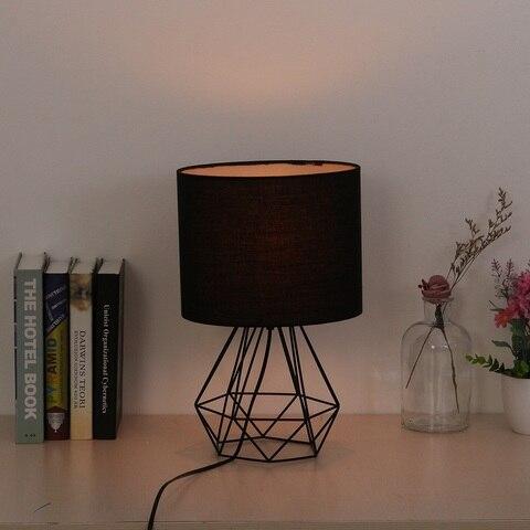 decorativo retro geometrico lampada de mesa tambor