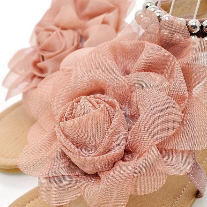 Plat D'été Flip Sandales 34 Gladiateur Taille Talons Femmes Tstraps 43 Perlé rose bleu De Beige Flops Chaussures Bohême Fleur Pour qdpwXwx01