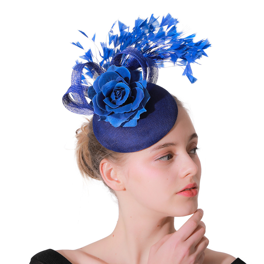 Fashion Royal Blue Sinamay Fascinator Wedding Hats Floral With Feathers Headdress Hair Clip Occasion Church Event Hair Accessory