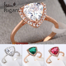 B1-R674 Italina Rigant Simulated Gemstone Fashion Ring CZ Pave Prong-set 18KGP Jewelry Size 6.5-8
