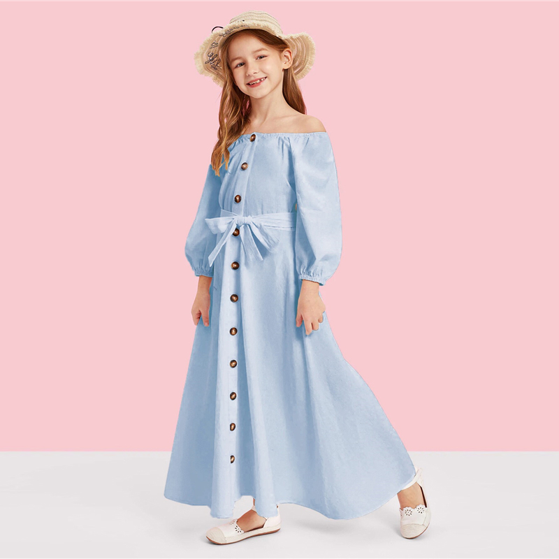 Image 5 - SHEIN Kiddie Off the Shoulder Button Front Belted Maxi Casual Girls Dress 2019 Summer Long Sleeve Fit and Flare Kids Dresses-in Dresses from Mother & Kids