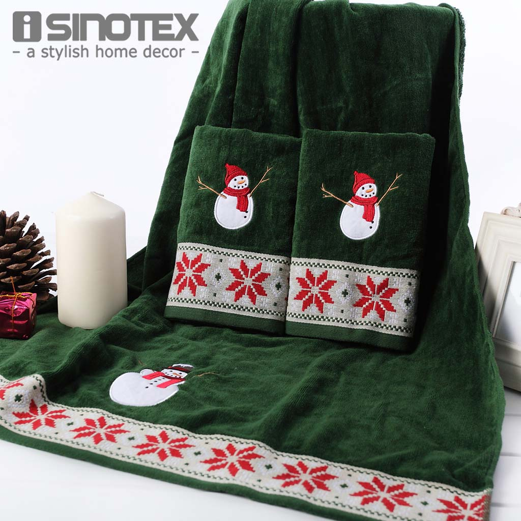 3pcs/Set Face Hand Hair Towel Bath Towel Set Quickly-Dry 100% Cotton Embroidery Christma ...